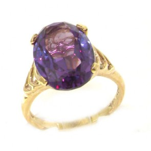 9ct Yellow Gold Synthetic Alexandrite Solitaire Ring