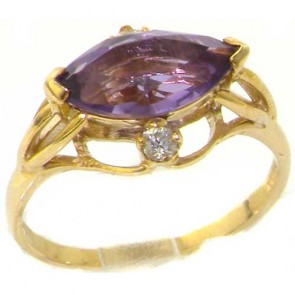 9ct Yellow Gold Large Marquise Amethyst & Diamond Ring
