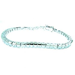 "Sterling 925 Silver Large Modern Designer Princess Cut Stone Set 7.5"" inch Tennis Bracelet"