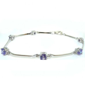 "Sterling Silver Gemset 7"" Bracelet Bangle"