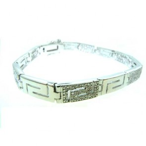 "Sterling 925 Silver Large Modern Designer Stone Set 7.5"" inch Greek Bracelet"