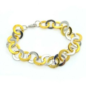 "Sterling Silver and Gold Plated MulticolouredSterling Silver and Gold Plated 7"" Bracelet"