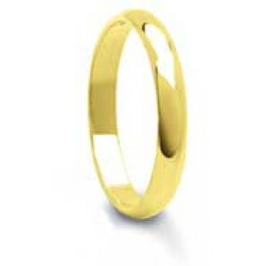 6mm 9ct Yellow Gold Mens D-Shape Wedding Ring