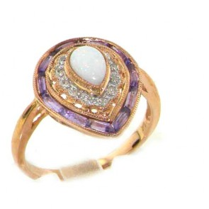 9ct Rose Gold Heart Opal Amethyst & Diamond Ring