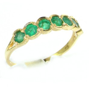 9ct Yellow Gold 7 Stone Emerald Eternity Ring