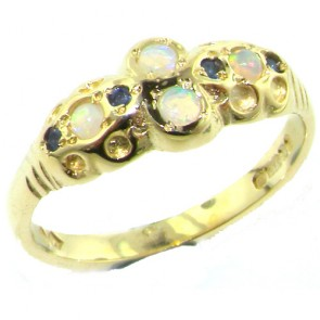 9ct Yellow Gold Fiery Opal & Sapphire Ring