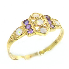 9ct Yellow Gold Ladies Opal & Amethyst Eternity Medieval Style Band Ring