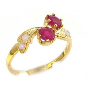 9ct Yellow Gold Ladies Ruby & Opal English Made Victorian Style Ring