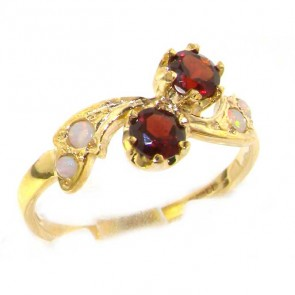 9ct Yellow Gold Ladies Garnet & Opal English Made Victorian Style Ring
