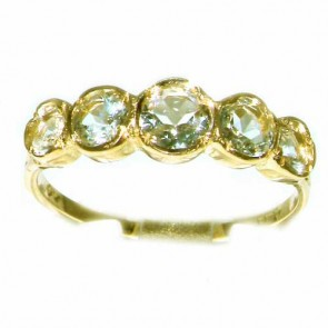 9ct Yellow Gold Womens Aquamarine Eternity Band Ring