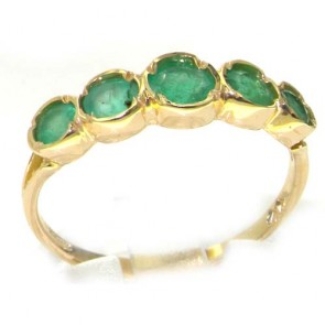 9ct Yellow Gold Ladies Emerald 5 Stone Eternity Ring