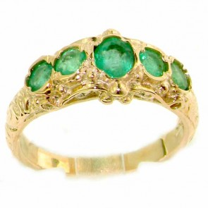 9ct Yellow Gold Ladies Emerald English Made Victorian Style Eternity Ring