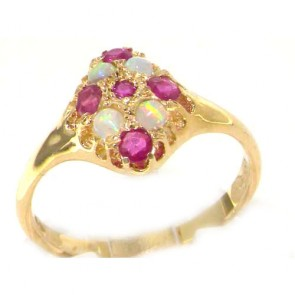 9ct Yellow Gold Ruby & Opal English Cluster Ring