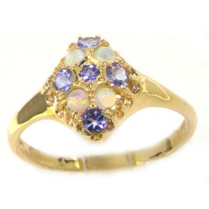9ct Yellow Gold Tanzanite & Opal English Cluster Ring