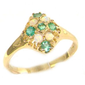 9ct Yellow Gold Emerald & Opal English Cluster Ring