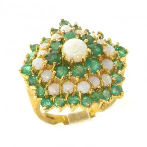 14K Gold Fiery Opal & Emerald Cluster Ring