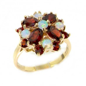 9ct Yellow Gold Large Fiery Opal & Garnet Cluster Ring