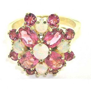 Huge 9ct Gold Fiery Opal & Pink Tourmaline Cluster Ring