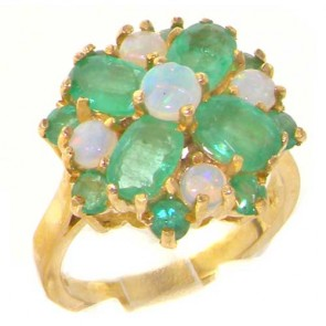 Large 9ct Gold Fiery Opal & Emerald Cluster Ring