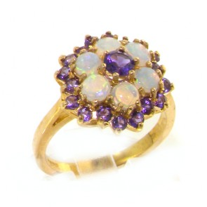 9ct Yellow Gold Ladies Amethyst & Opal Cocktail Ring