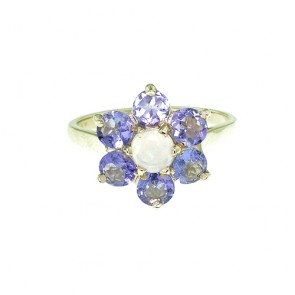 9ct Yellow Gold Ladies Stunning Luxury Fiery Opal & Tanzanite Cluster Ring