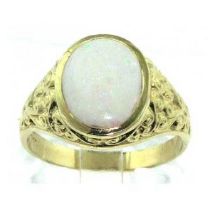 9ct Gold Mens Opal Ring with Paisley Carved Shoulders