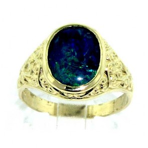 9ct Gold Mens Opal Triplet Ring with Paisley Carved Shoulders