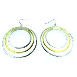 "Sterling Silver Unusual Large Round 56mm / 2.2"" inch Creole Earrings"