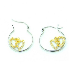 Sterling Silver Unusual Interlinked Dual Heart Earrings