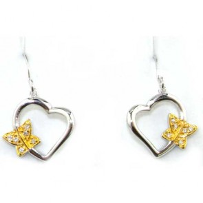 Sterling Silver Unusual Heart & Butterfly stone set Earrings
