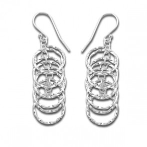 Sterling Silver Unusual Hoop Drop Earrings