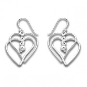 Sterling Silver Unusual Twin Double Heart Earrings