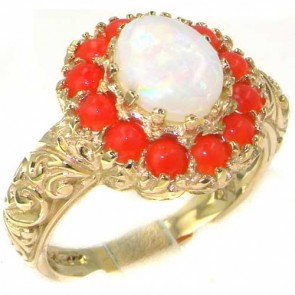 9ct Gold Large Fiery Opal & Coral Ring