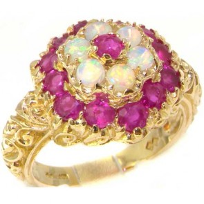 9ct Yellow Gold Ruby & Fiery Opal Ring