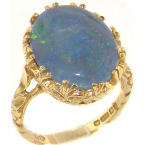 9ct Yellow Gold Victorian Style Flowers and Butterflies Large Opal Solitaire Ring