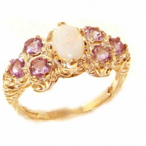 9ct Yellow Gold Womens Large Opal & Amethyst Art Nouveau  Ring