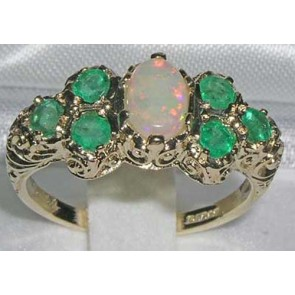9ct Yellow Gold Womens Large Opal & Emerald Art Nouveau  Ring