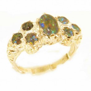 9ct Yellow Gold Womens Large Opal Triplet Art Nouveau  Ring