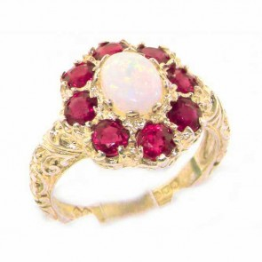 9ct Yellow Gold Womens Large Opal & Ruby Art Nouveau Ring
