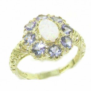 9ct Yellow Gold Womens Large Opal & Tanzanite Art Nouveau  Ring