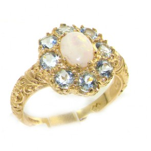 9ct Yellow Gold Opal & Aquamarine Cluster Ring