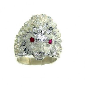 Sterling Silver Men's Chunky Heavy Lion Ruby Eyes Ring