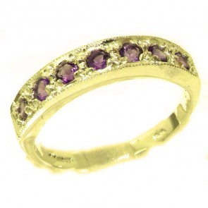 14K Yellow Gold Ladies Natural Amethyst Eternity Band Ring