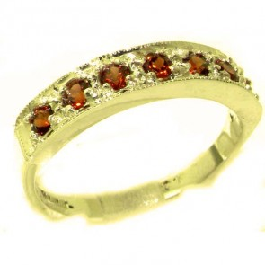 9ct Yellow Gold Ladies Natural Garnet Eternity Band Ring