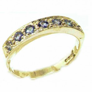 14K Yellow Gold Ladies Natural Tanzanite Eternity Band Ring