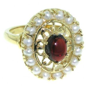 9ct Gold Ladies Garnet & Seed Pearl Ring