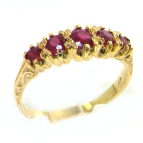 14K Yellow Gold Ladies Ruby Vintage Style Eternity Band Ring