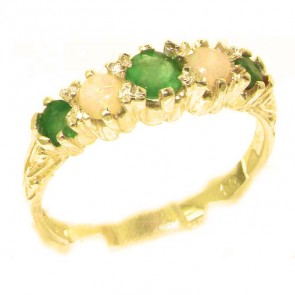 9ct Yellow Gold Natural Emerald & Opal Ring