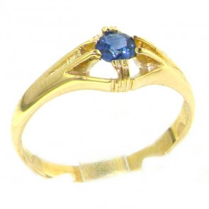 9ct Yellow Gold Ladies Solitaire Vibrant Sapphire Ring