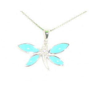 Sterling Silver Designer Turquoise Butterfly Pendant Necklace